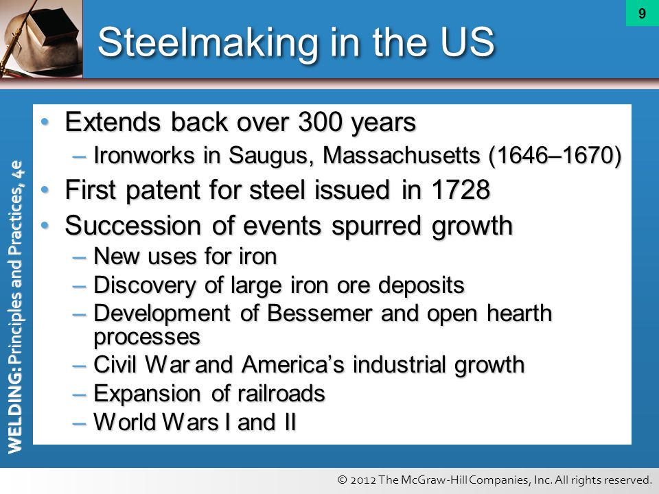 Steelmaking in the US Extends back over 300 years