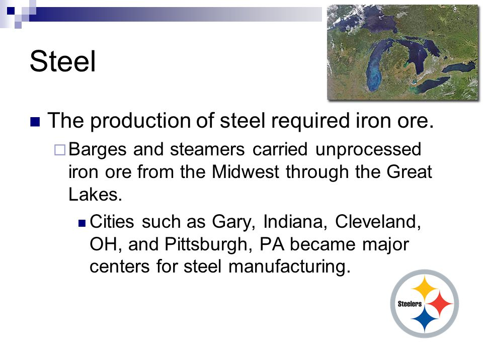 Steel The production of steel required iron ore.