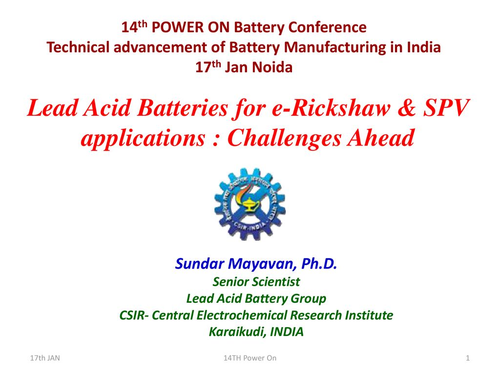 14th POWER ON Battery Conference - ppt download