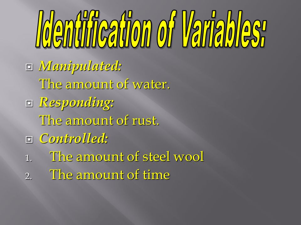 Identification of Variables: