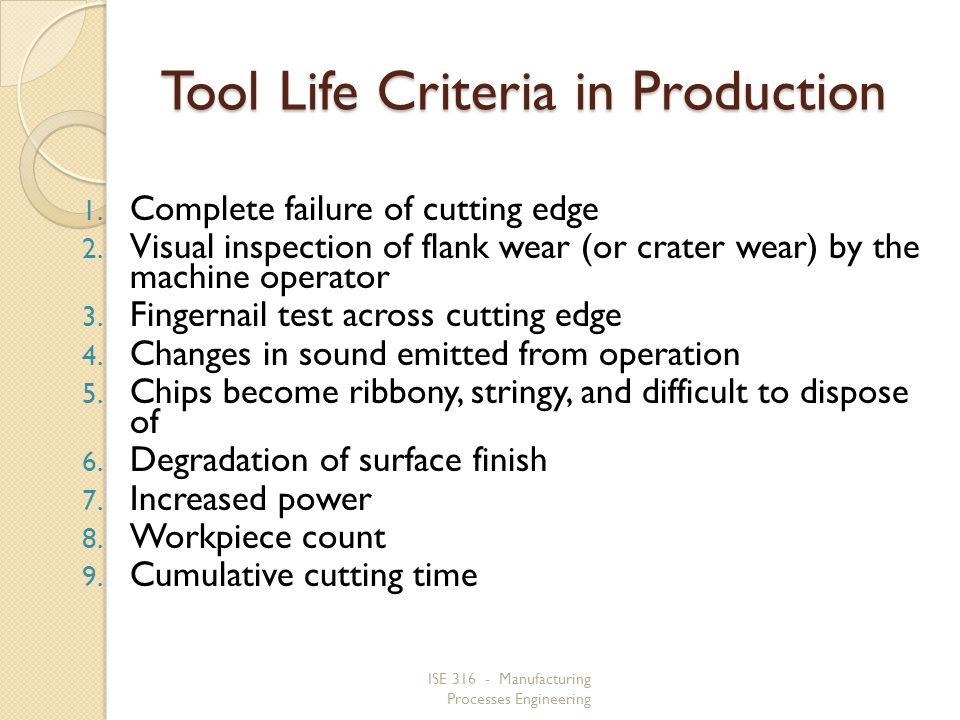 Tool Life Criteria in Production