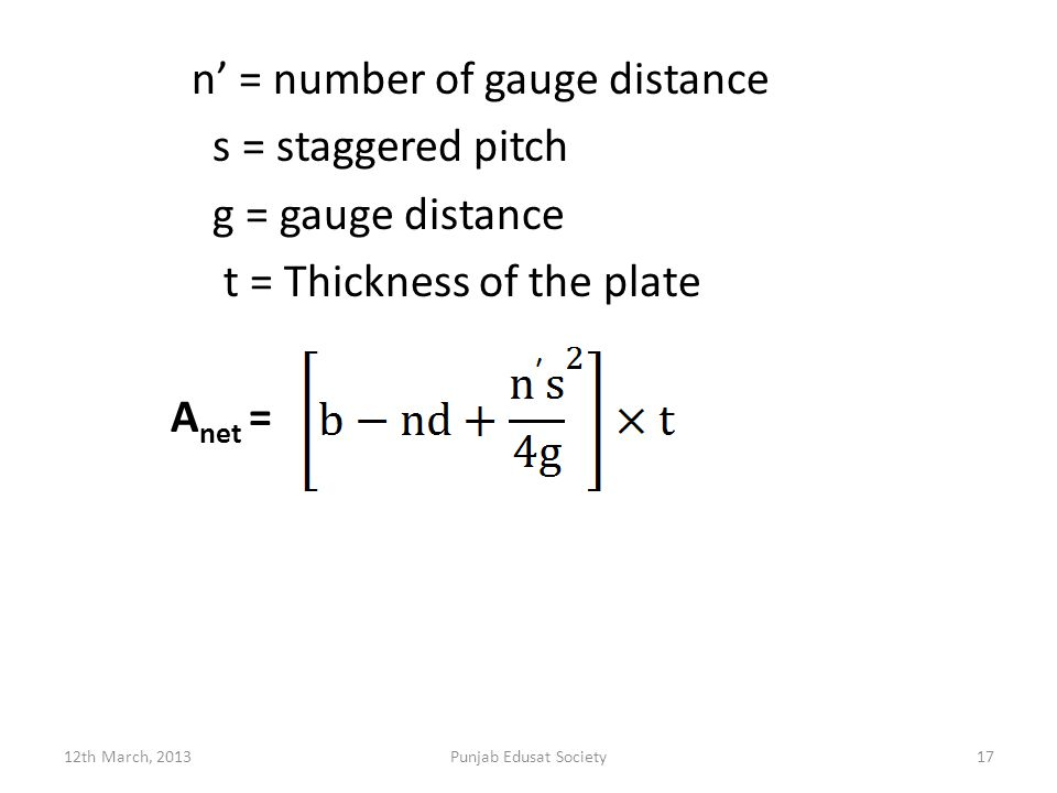 n' = number of gauge distance s = staggered pitch g = gauge distance t = Thickness of the plate Anet =