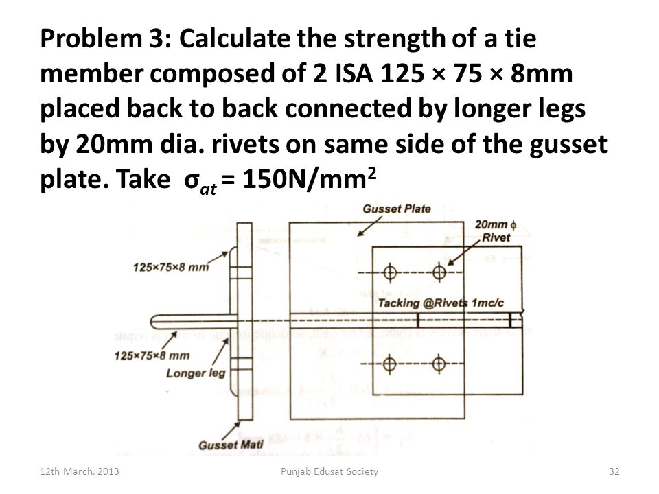 Problem 3: Calculate the strength of a tie member composed of 2 ISA 125 × 75 × 8mm placed back to back connected by longer legs by 20mm dia. rivets on same side of the gusset plate. Take σat = 150N/mm2