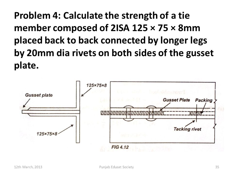 Problem 4: Calculate the strength of a tie member composed of 2ISA 125 × 75 × 8mm placed back to back connected by longer legs by 20mm dia rivets on both sides of the gusset plate.