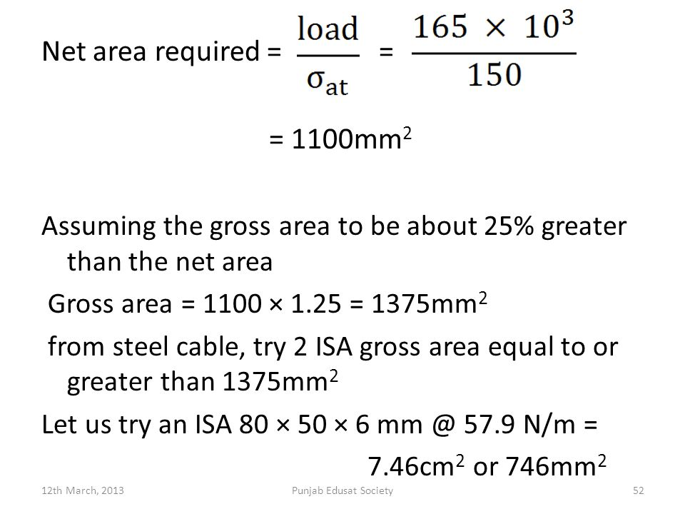 Net area required = = = 1100mm2