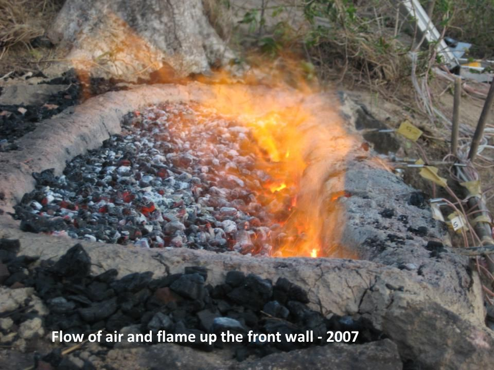 Flow of air and flame up the front wall - 2007
