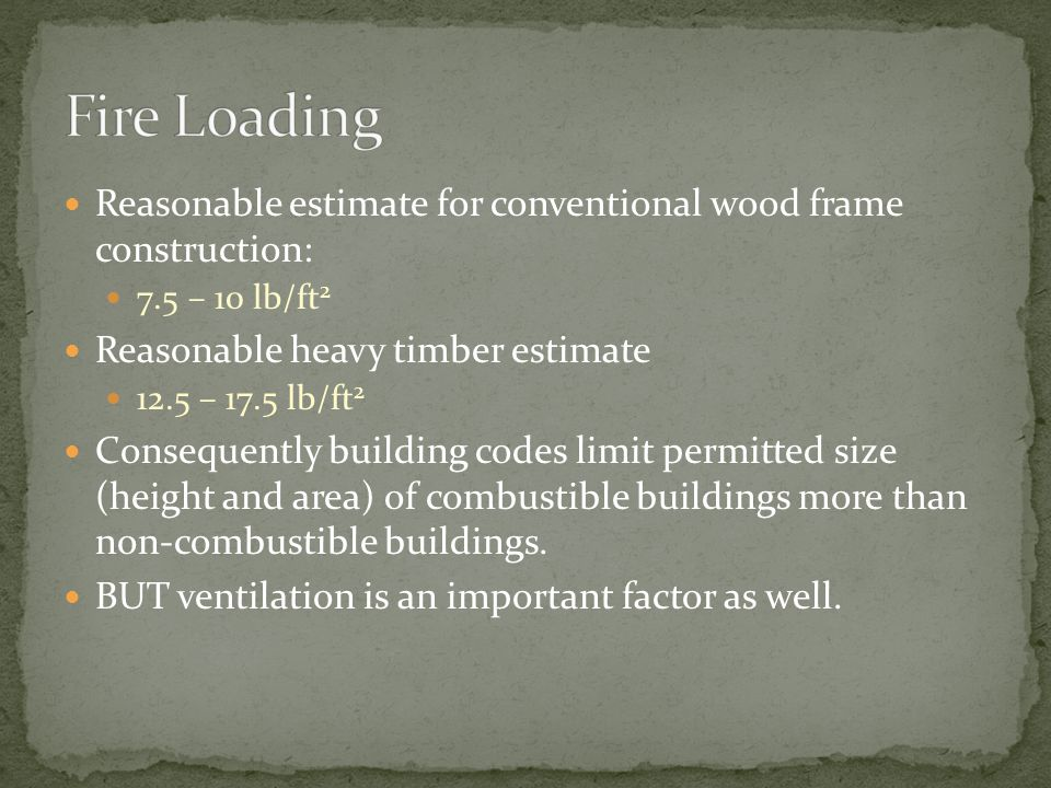 Fire Loading Reasonable estimate for conventional wood frame construction: 7.5 – 10 lb/ft2. Reasonable heavy timber estimate.