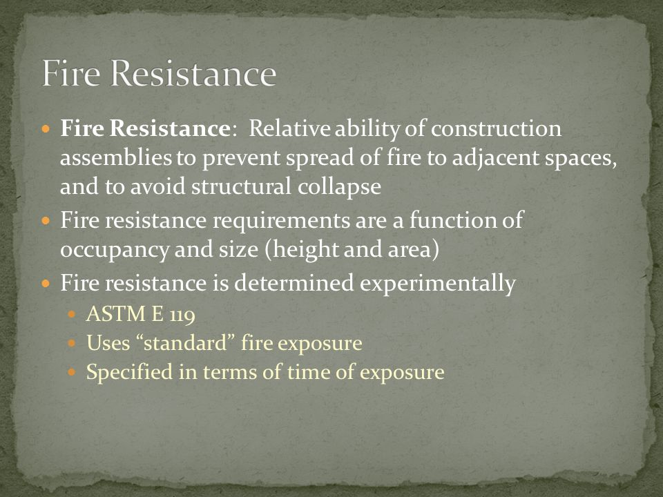 Fire Resistance