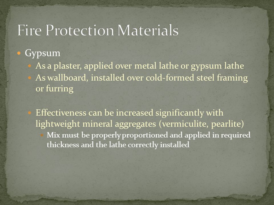 Fire Protection Materials
