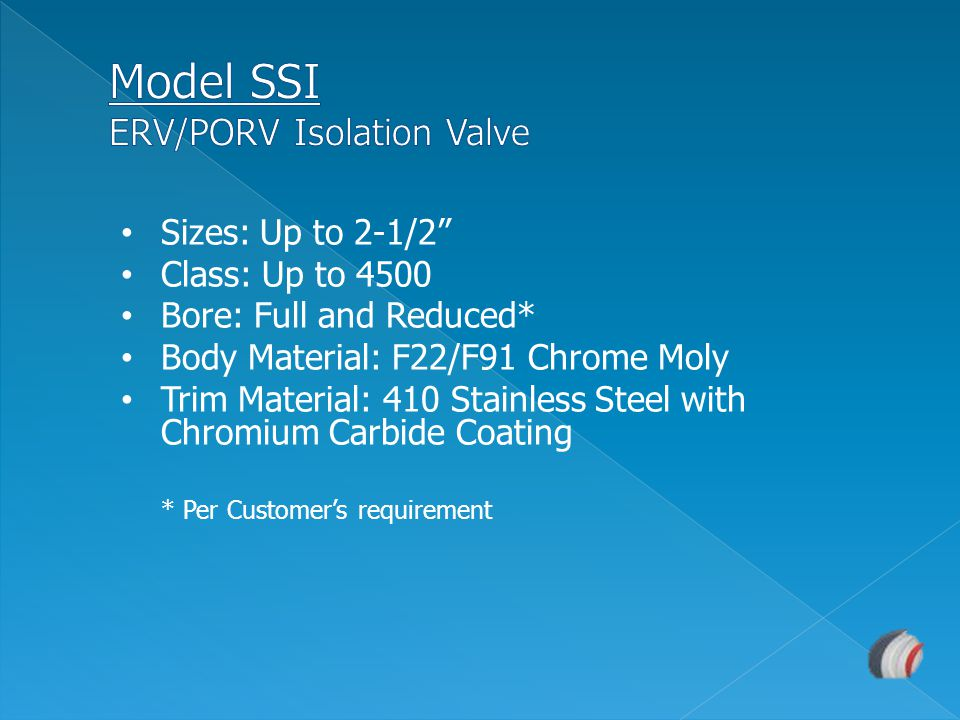 Model SSI ERV/PORV Isolation Valve