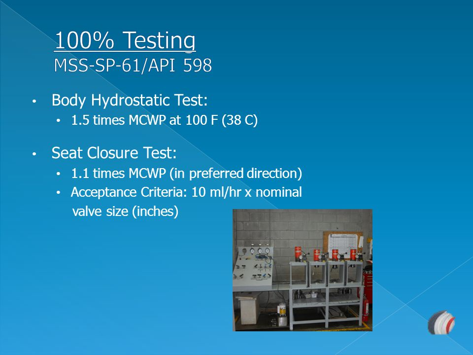 100% Testing MSS-SP-61/API 598 Body Hydrostatic Test: