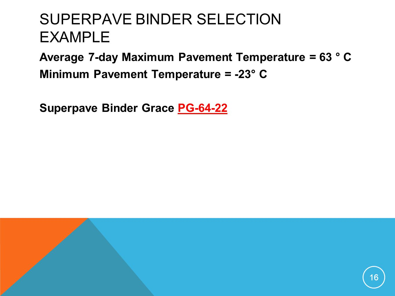 SUPERPAVE BINDER SELECTION EXAMPLE