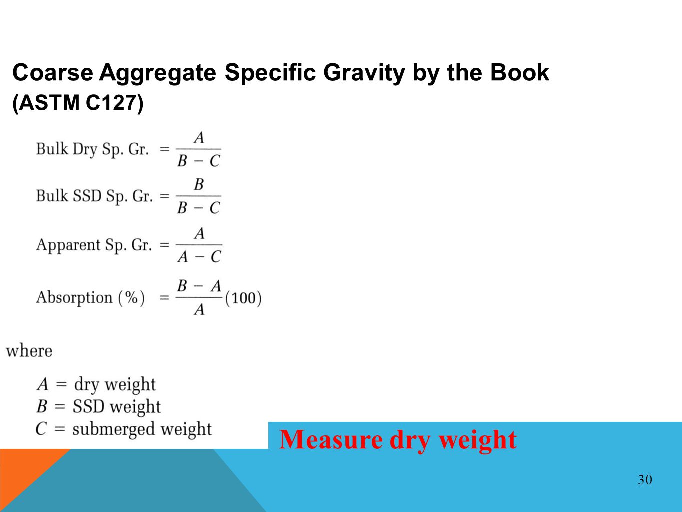 Measure dry weight Coarse Aggregate Specific Gravity by the Book
