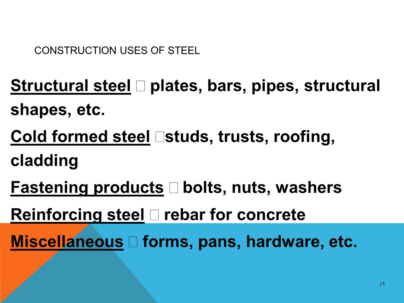 CONSTRUCTION USES OF STEEL