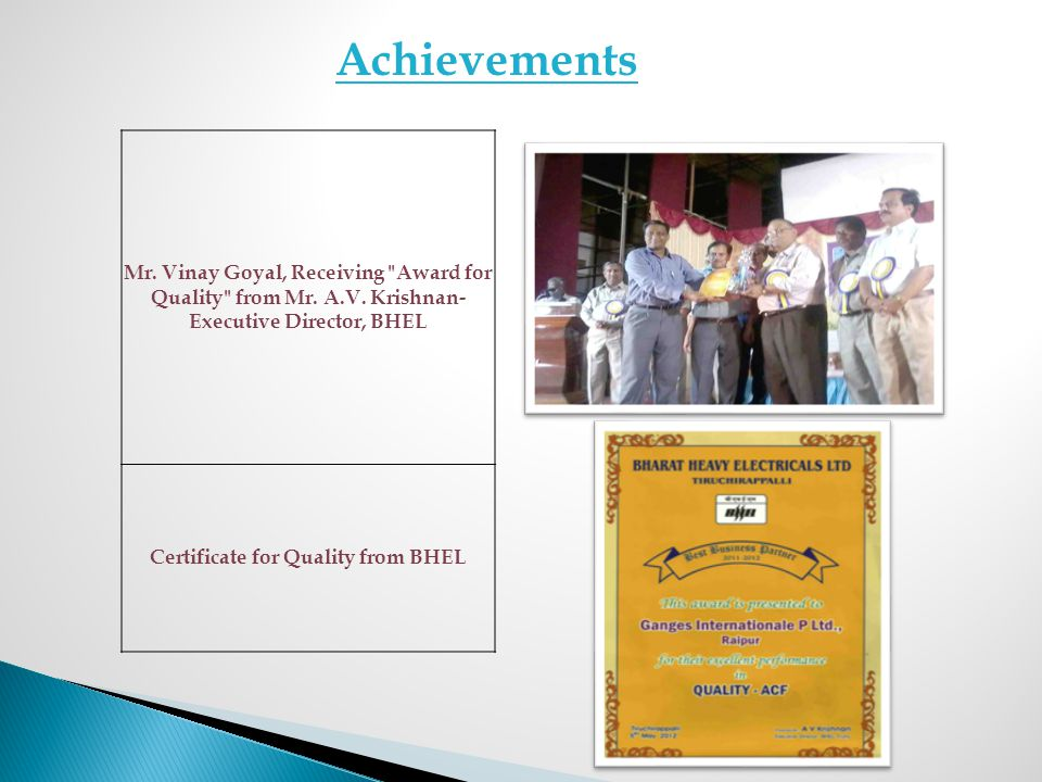 Certificate for Quality from BHEL