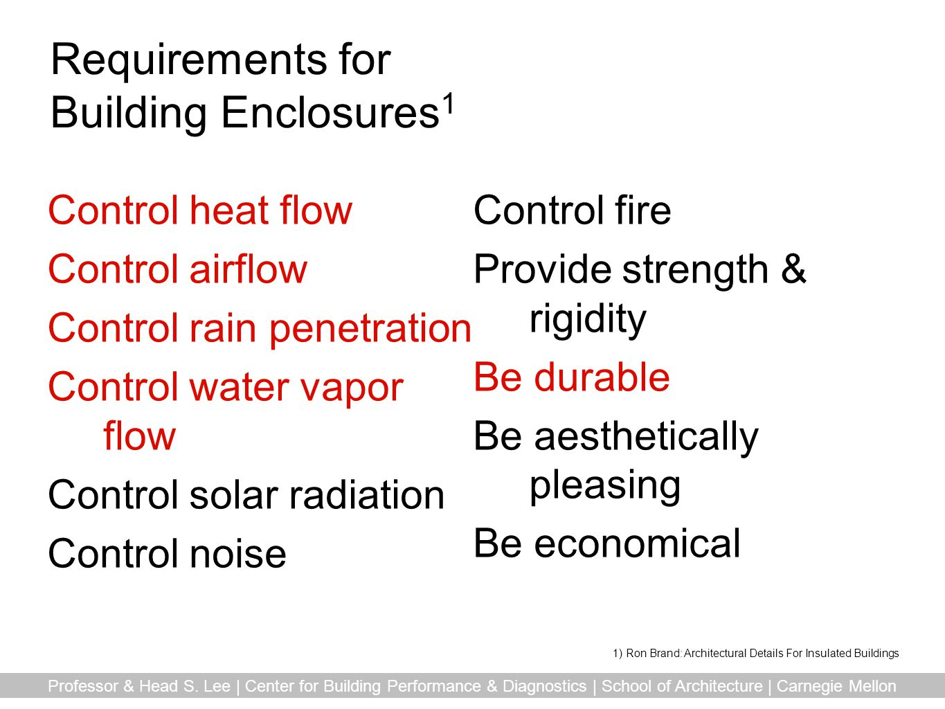 Requirements for Building Enclosures1