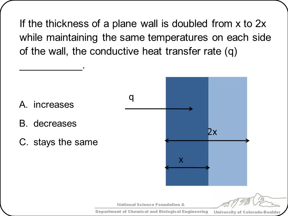 If the thickness of a plane wall is doubled from x to 2x while maintaining the same temperatures on each side of the wall, the conductive heat transfer rate (q) ___________.