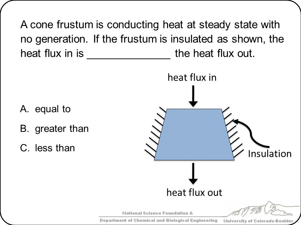 A cone frustum is conducting heat at steady state with no generation