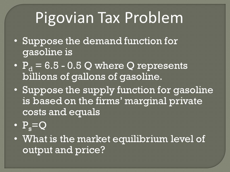 Pigovian Tax Problem Suppose the demand function for gasoline is