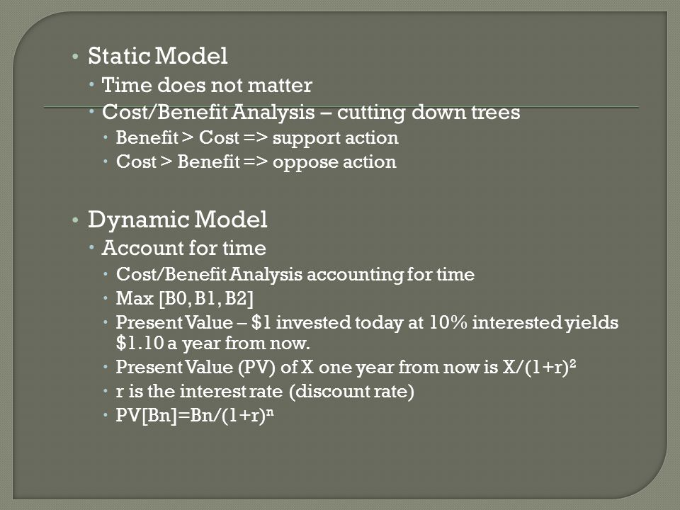 Static Model Dynamic Model Time does not matter