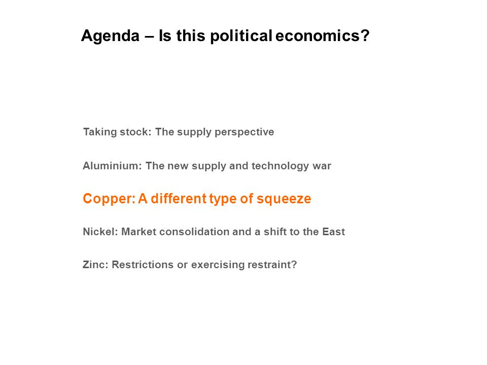 Agenda – Is this political economics