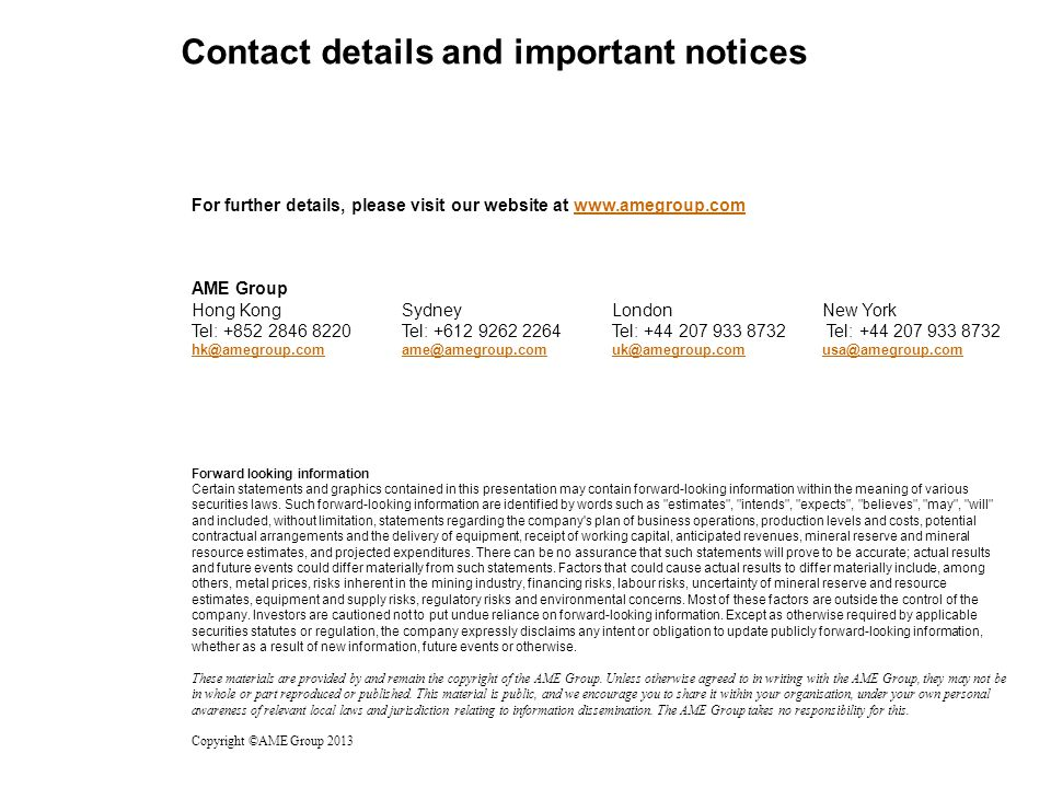 Contact details and important notices