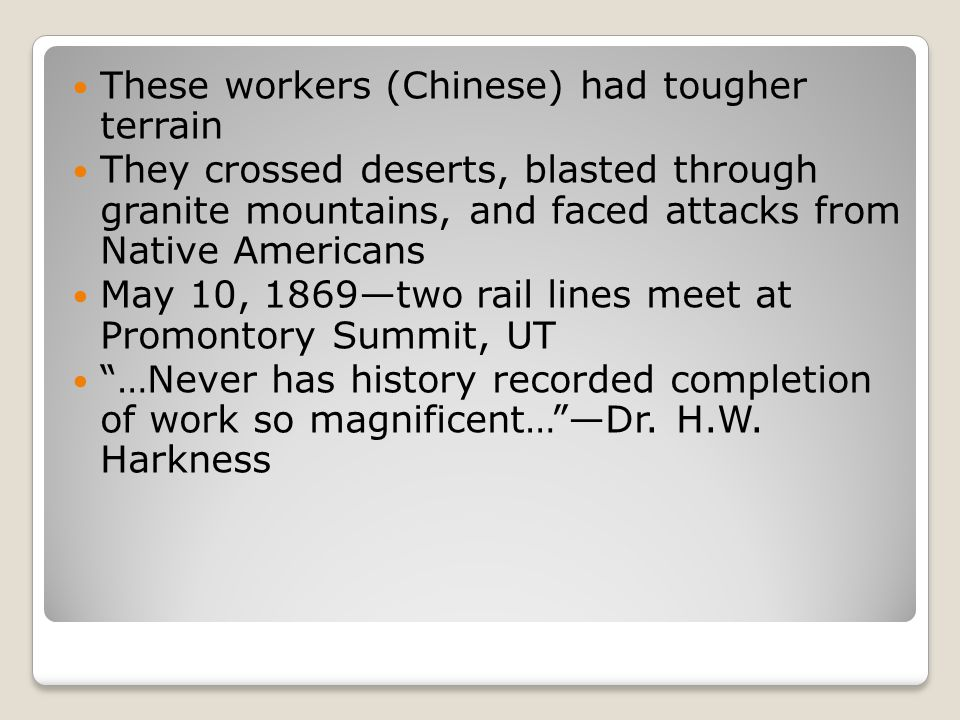These workers (Chinese) had tougher terrain