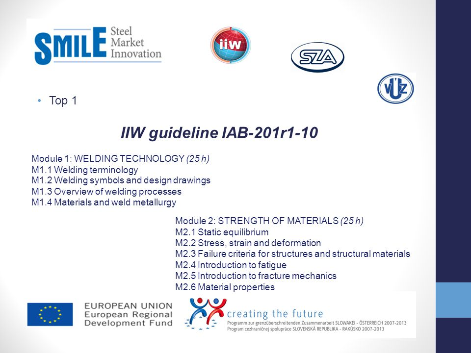 IIW guideline IAB-201r1-10 Top 1 Module 1: WELDING TECHNOLOGY (25 h)