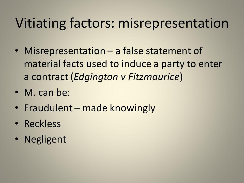 Vitiating factors: misrepresentation