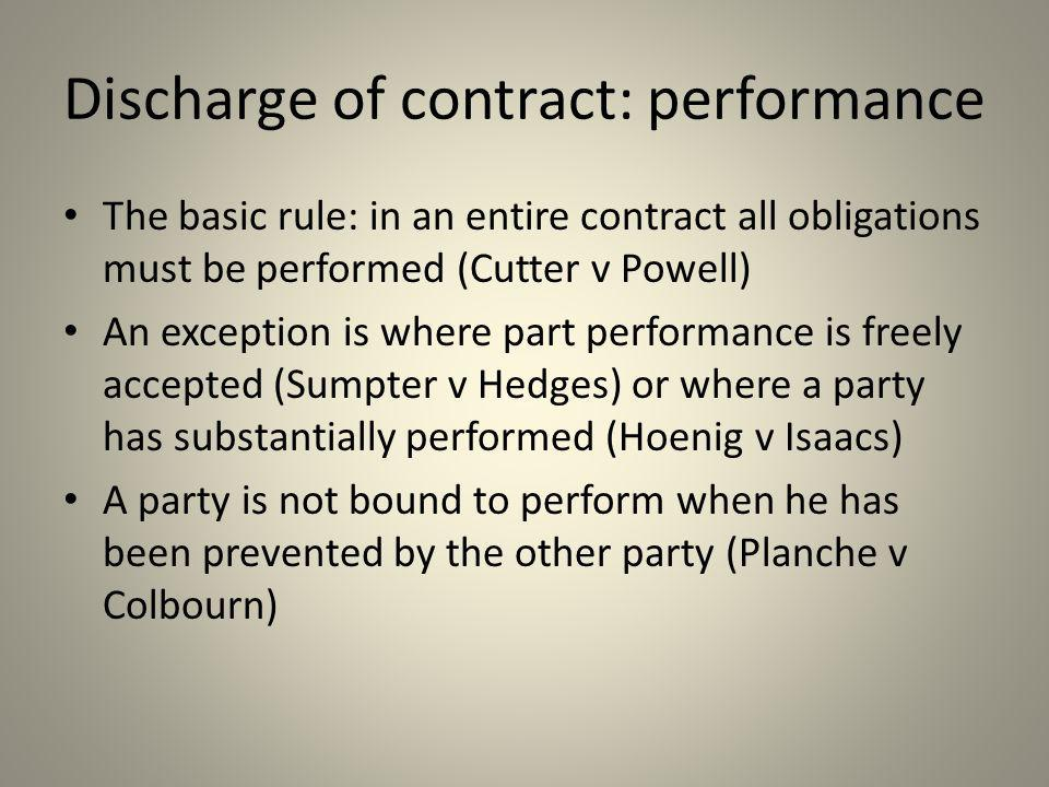 Discharge of contract: performance