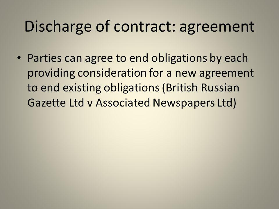Discharge of contract: agreement