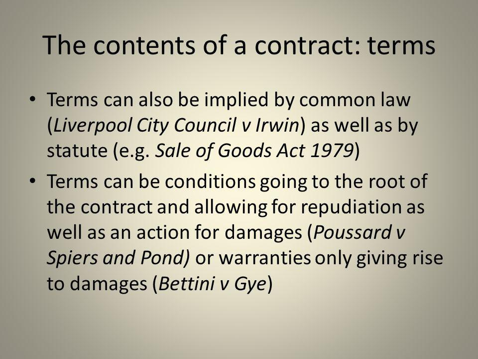 The contents of a contract: terms