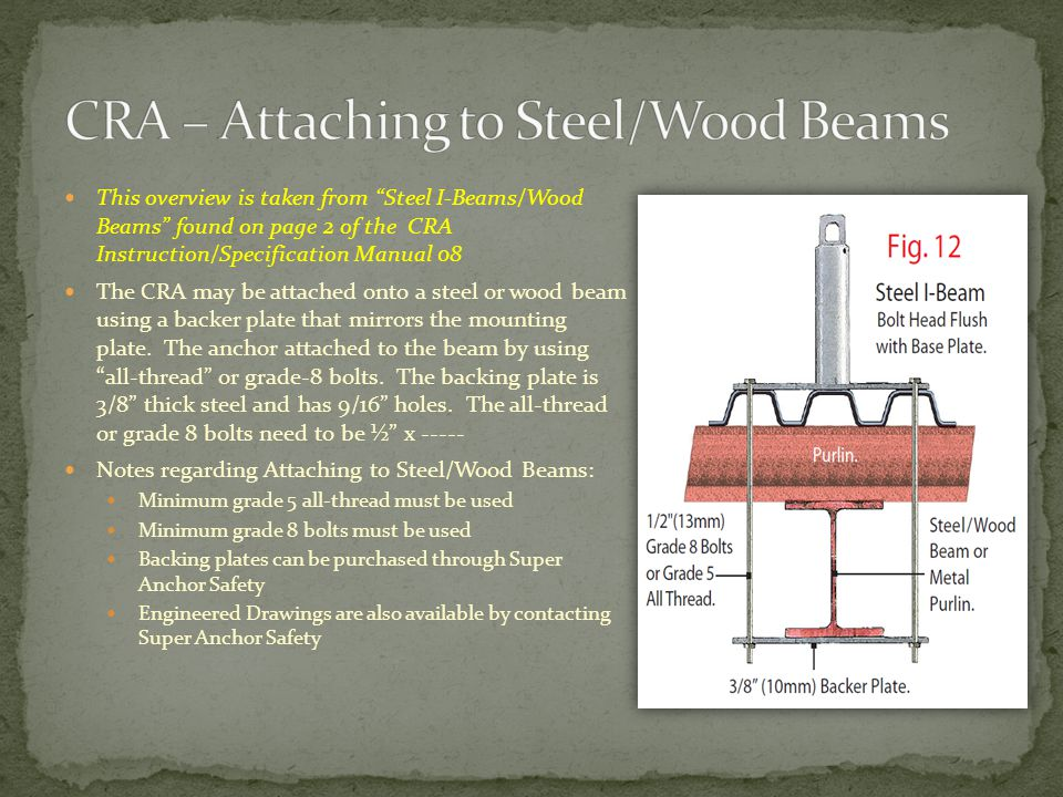 CRA – Attaching to Steel/Wood Beams