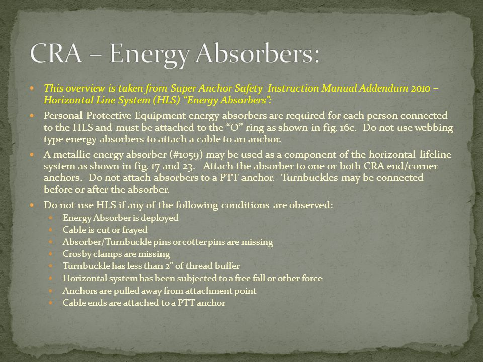 CRA – Energy Absorbers: