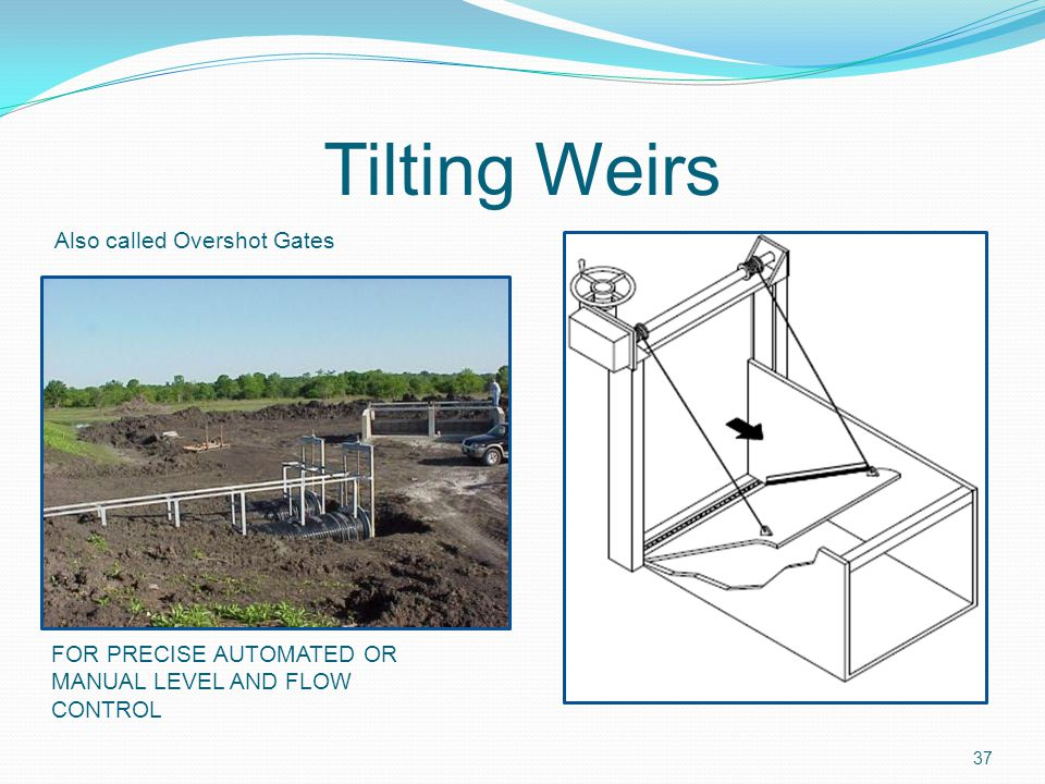 Tilting Weirs Also called Overshot Gates FOR PRECISE AUTOMATED OR