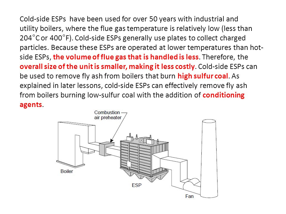 Cold-side ESPs have been used for over 50 years with industrial and
