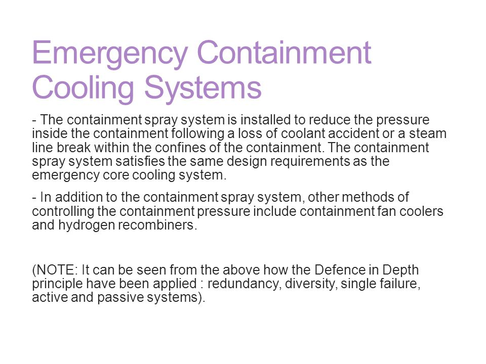 Emergency Containment Cooling Systems