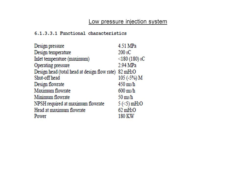 Low pressure injection system