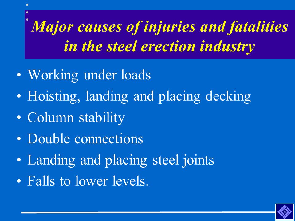 Major causes of injuries and fatalities in the steel erection industry