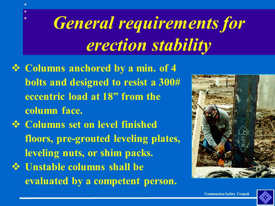 General requirements for erection stability
