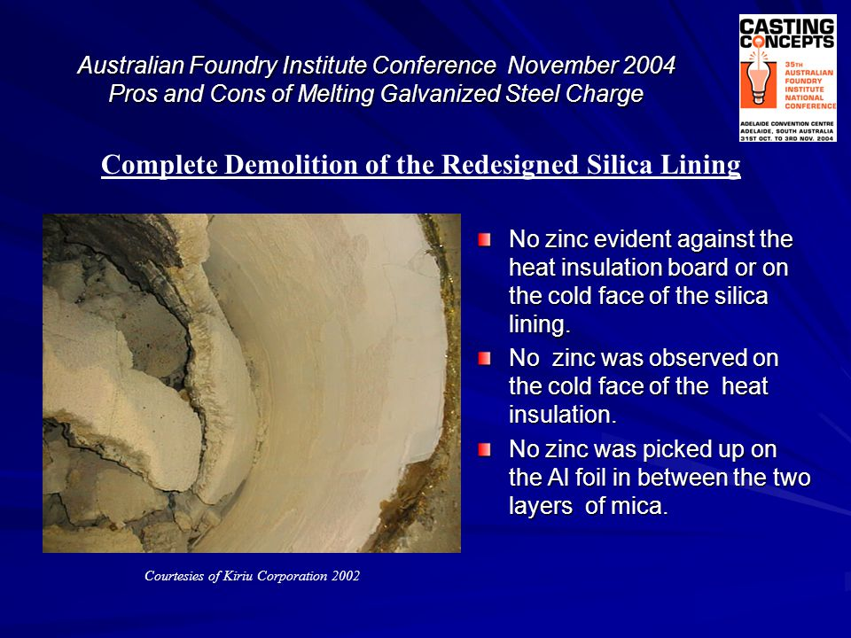 Complete Demolition of the Redesigned Silica Lining