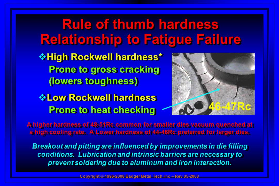 Rule of thumb hardness Relationship to Fatigue Failure