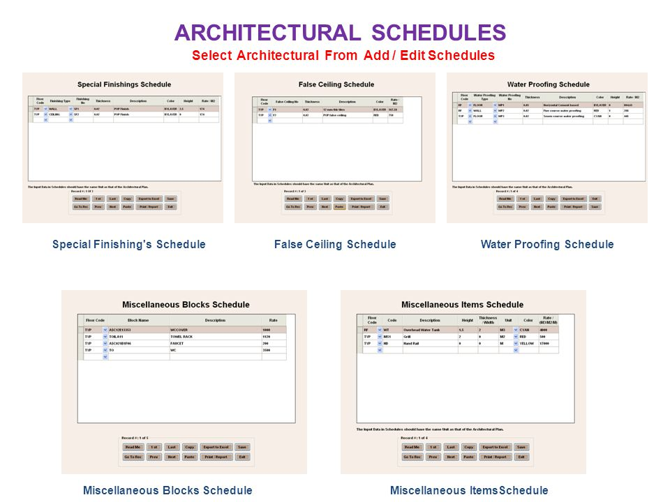 ARCHITECTURAL SCHEDULES