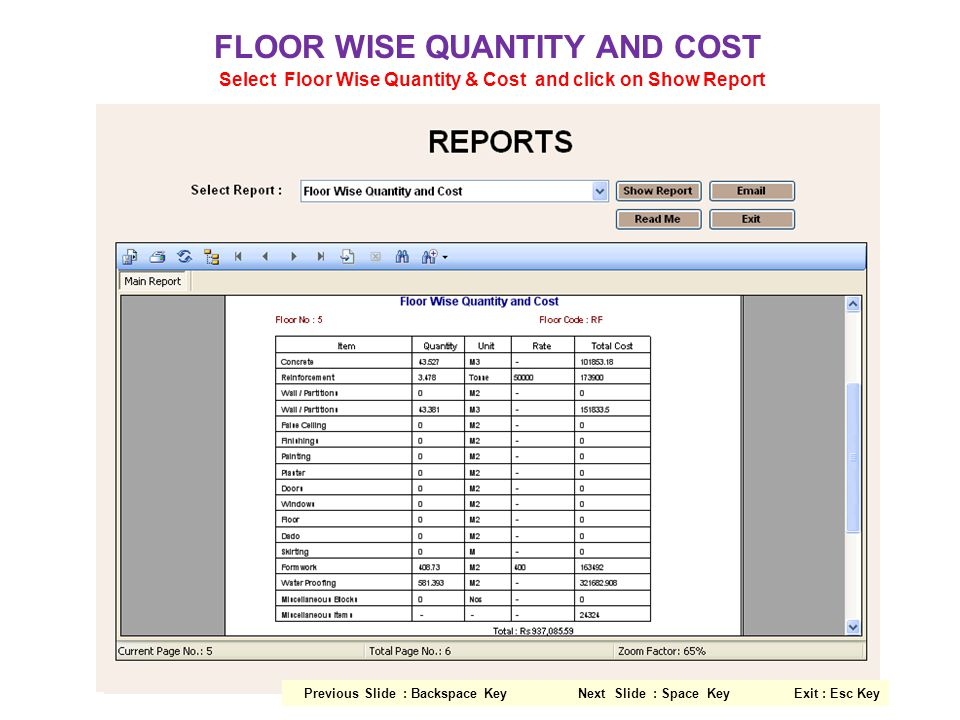 FLOOR WISE QUANTITY AND COST