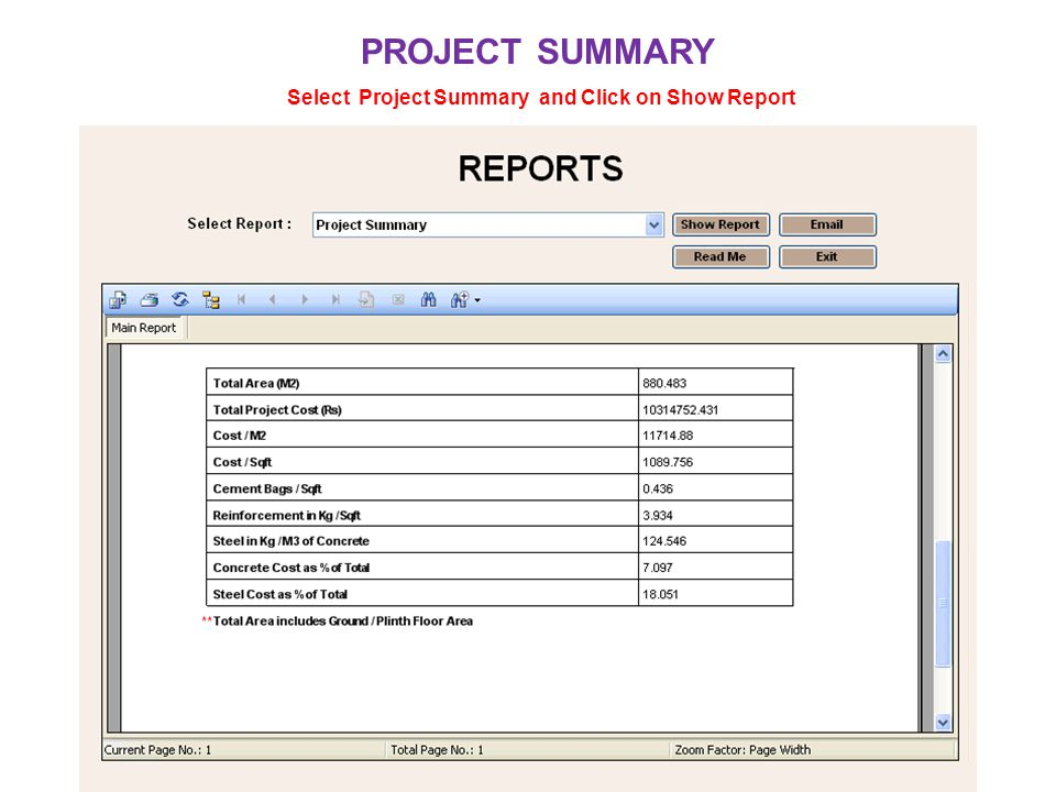 Select Project Summary and Click on Show Report