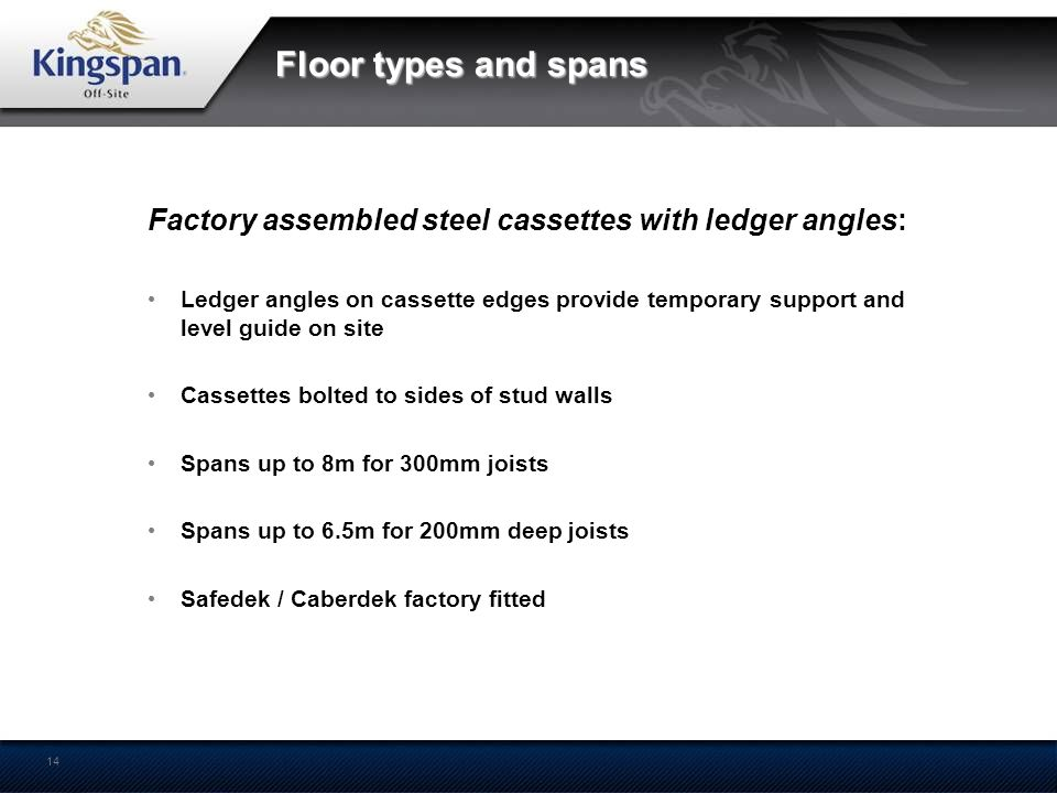 Floor types and spans Factory assembled steel cassettes with ledger angles: