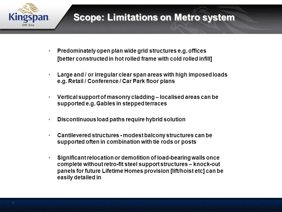 Scope: Limitations on Metro system