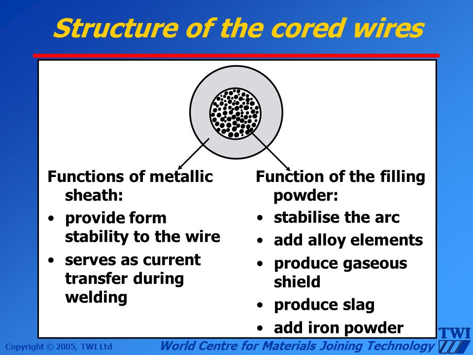 Structure of the cored wires