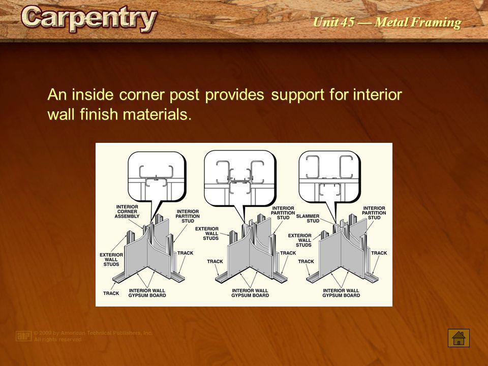 An inside corner post provides support for interior wall finish materials.