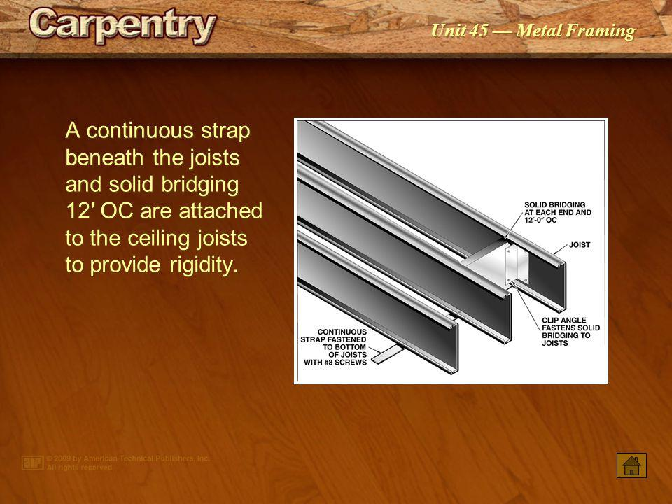 A continuous strap beneath the joists and solid bridging 12′ OC are attached to the ceiling joists to provide rigidity.
